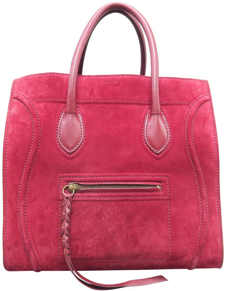 66cf5b297e Céline Cabas Phantom Medium Leather Red Suede Tote - Tradesy