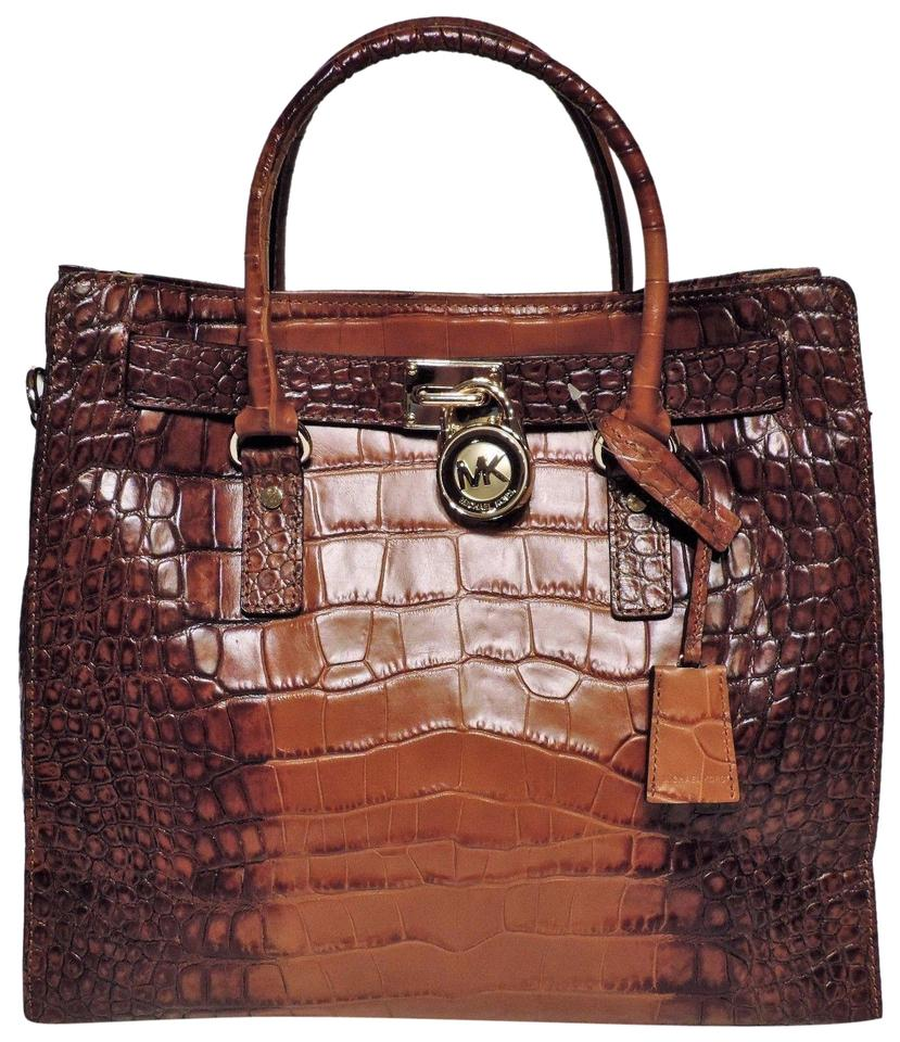a50eae1e16a0 Michael Kors Lock And Key Mk Large Hamilton Mk Crododile Embossed Tote in  Luggage Brown/ ...