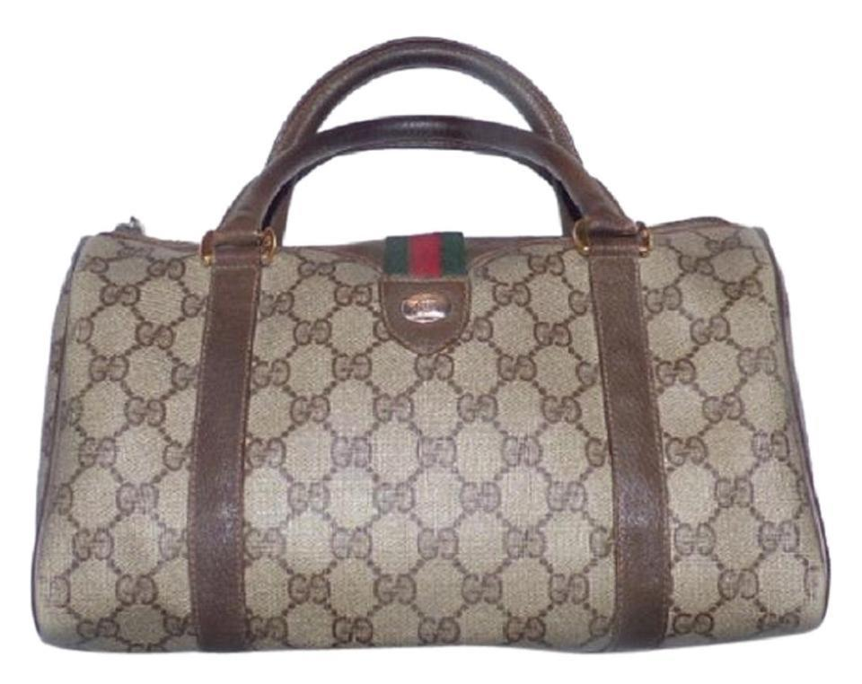 225d21076c48f3 Gucci Boston Vintage Accessory Collection Satchels/Designer Purses Brown  Large G Logo Print Coated Canvas and Brown Leather with A Red and Green  Accent ...