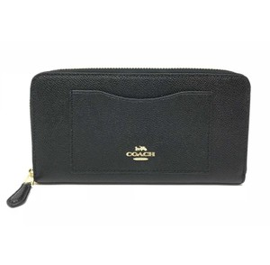 Coach Coach Women's Accordion Zip Wallet In Crossgrain Black Leather