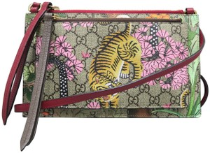 Gucci Gg Tian Tiger Canvas Shoulder Bag