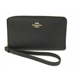 Coach Coach Crossgrain Black Leather Phone Wallet Clutch