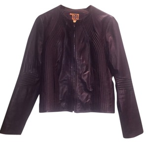 Tory Burch Leather Classic Luxury Supple Aubergine Leather Jacket
