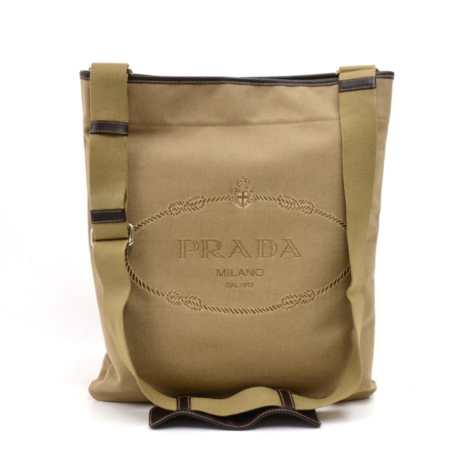 ff2d77b9e2c1 Prada Cordo Logo Jacquard Brown Leather Large Beige Canvas Cross ...