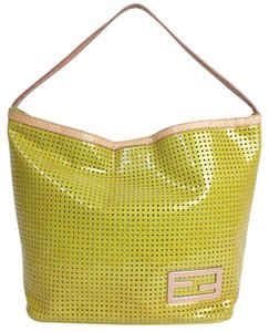 Fendi Shiny Patent Leather Tote in Lime Green