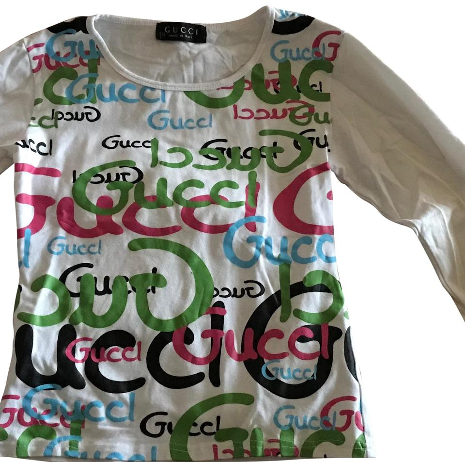 aa7e617608b7 Gucci White with Vibrant Writing. Long Sleeve Tee Shirt Size 6 (S ...