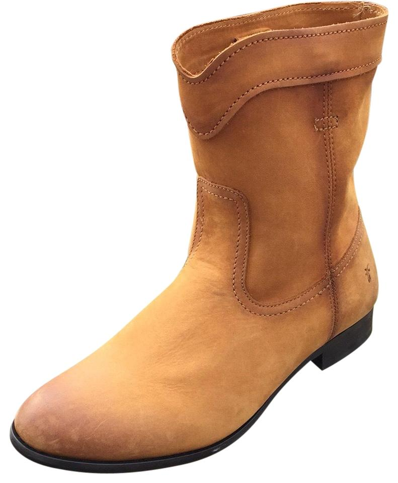 942dfed7b16 Frye Cognac New Cara Short Mid Calf Leather Riding Boots/Booties Size US 9  Regular (M, B) 57% off retail