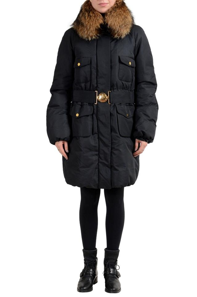 1f3e61982 Moncler Black Women's Down Fur Trimmed Hooded Parka Jacket Size 12 ...