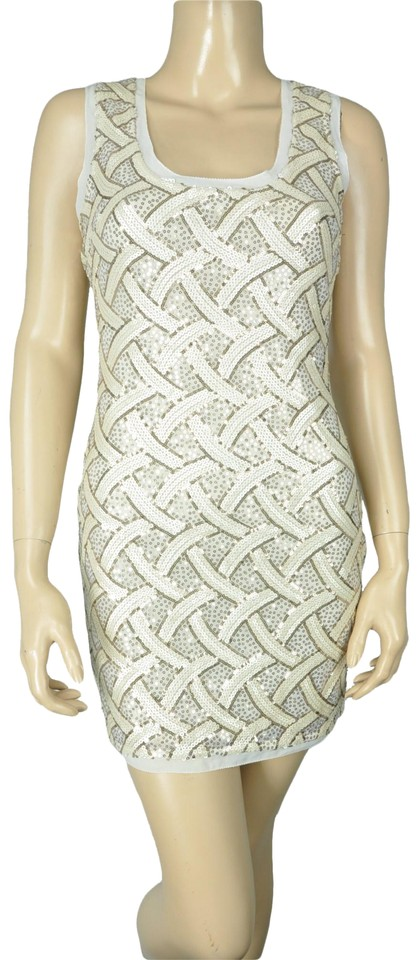 789accf008ec Ark   Co. White Co Sequin Bodycon Stretch Short Cocktail Dress Size ...