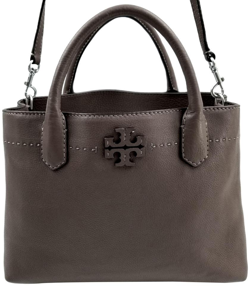 37c331d57382 Tory Burch Mcgraw Triple Compartment Silver Maple Leather Satchel ...