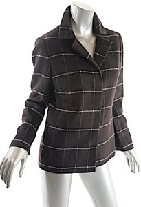 Akris Punto Windowpane Wool Cashmere Brown Blazer