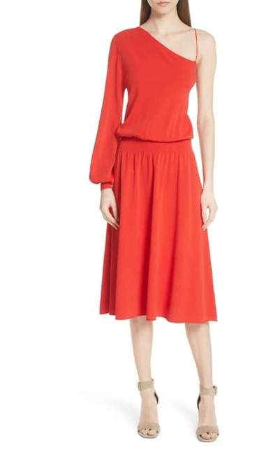 Item - Red L Knitted One Shoulder Mid-length Casual Maxi Dress Size 8 (M)