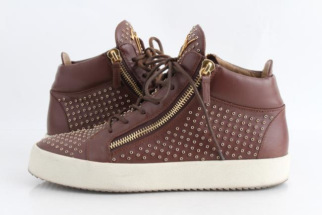Item - Brown Men's Leather Mid-top Sneaker Shoes