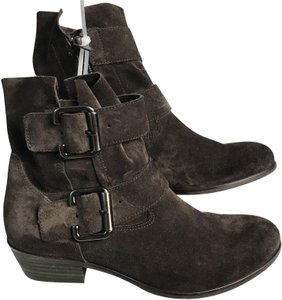 Paul Green Leather Suede Buckle Brown Boots