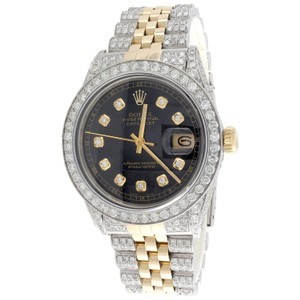Rolex Mens 36mm Rolex DateJust 16013 Diamond Watch Iced Out 18K Jubilee 8CT