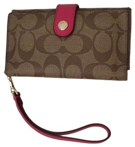 Coach 1941 Wristlet in Brown with pink trim