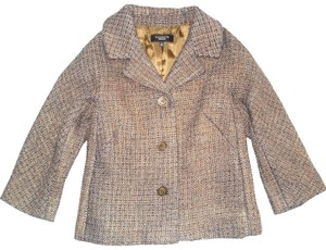 Talbots Shimmer Wool Tweed 3/4 Sleeve Cropped Bown Blazer