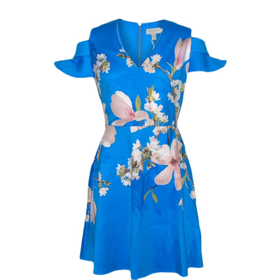 3bad00b42ae8e0 Ted Baker Bright Blue Ambre Harmony Cold Shoulder Short Casual Dress ...