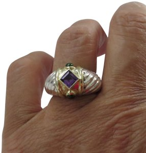 David Yurman Renaissance SS-14k Amethyst and Green Tourmaline