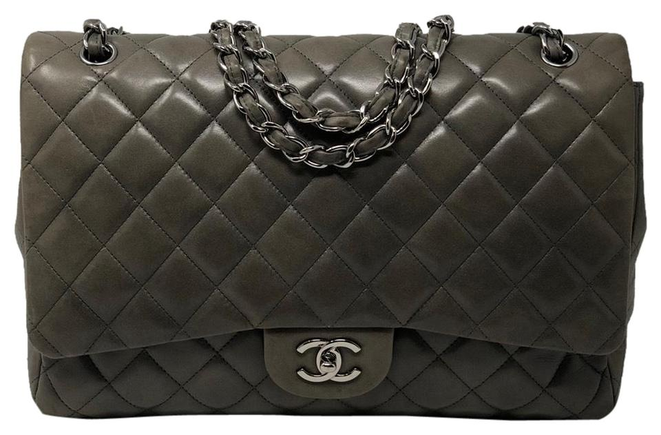 b453940e1f45b0 Chanel Jumbo Single Flap Gray Lambskin Leather Shoulder Bag - Tradesy