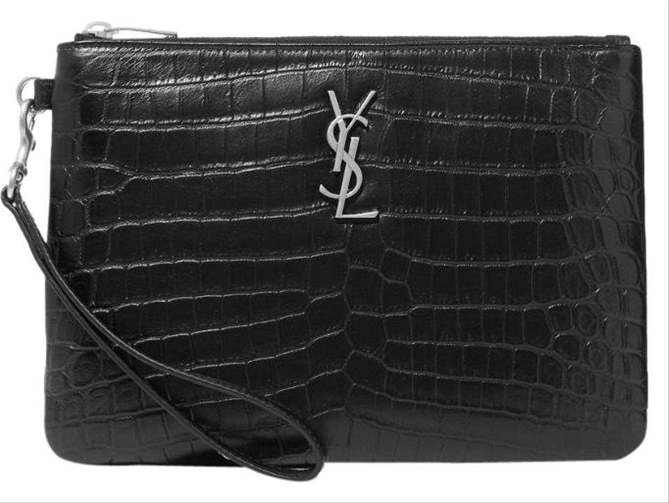 b375a97675 Saint Laurent Monogram Crocodile Embossed Leather Pouch Clutch - Tradesy