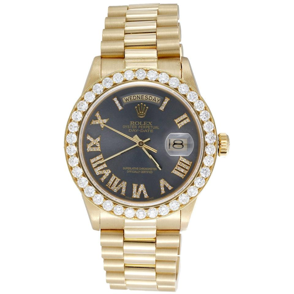 Rolex 18k Yellow Gold Gray Roman Number Dial Mens 36mm President Day Date 18038 Diamond 354ct Watch 50 Off Retail