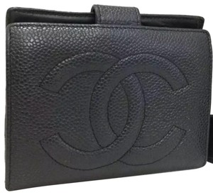 Chanel Authentic Chanel black Bifold snap Wallet