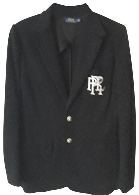 Item - Black Crested Blazer with Silver Emblem Button-down Top Size 8 (M)
