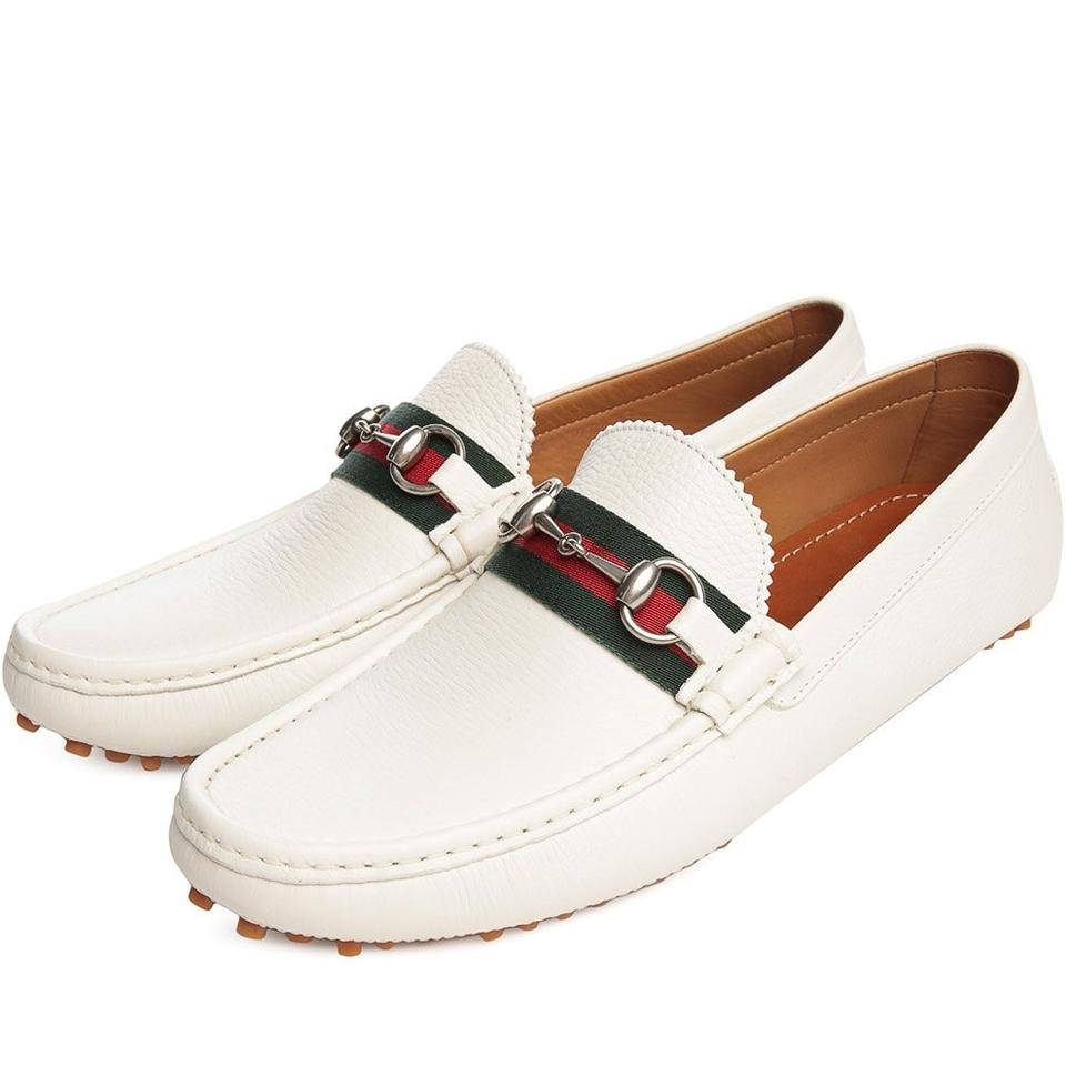 2feb9c46830 Gucci White Horsebit Great Web Logo Silver Driver Loafers 8.5 Us 9.5   322741 Shoes Image ...