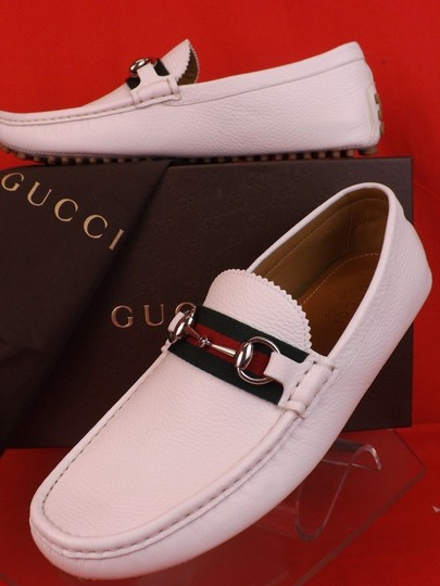 Gucci White Horsebit Great Web Logo Silver Driver Loafers 8.5 Us 9.5 #322741 Shoes