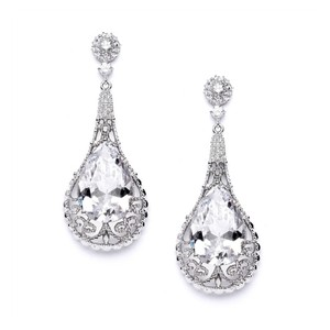 Silver/Rhodium Cubic Zirconia Pear Shape Earrings