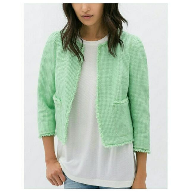 Item - Green Textured Structured Jacket Size 4 (S)