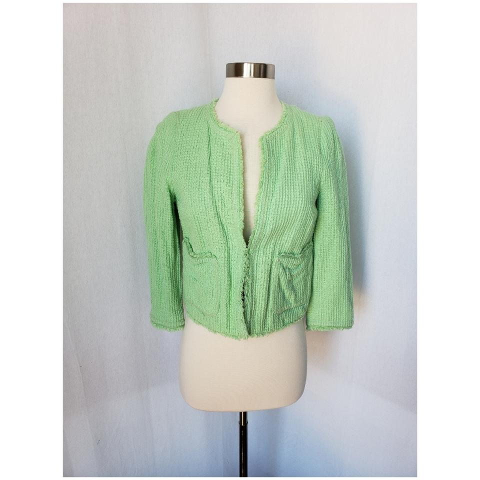 eb43957d Zara Green Textured Structured Jacket Size 4 (S) - Tradesy