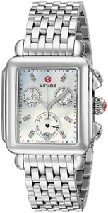 Michele NEW Deco Signature MOP Diamond Dial Steel MWW06P000014 Ladies Watch