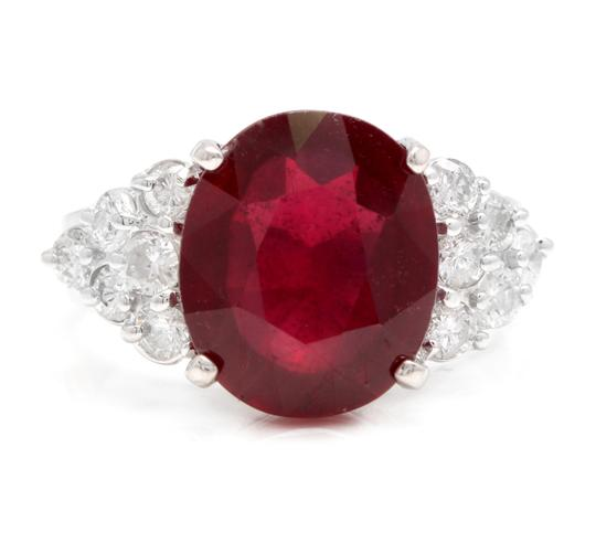 Preload https://img-static.tradesy.com/item/24486339/white-gold-890-carats-red-ruby-and-natural-diamond-18k-solid-ring-0-0-540-540.jpg
