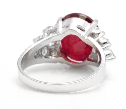 Other 8.90 Carats Red Ruby and Natural Diamond 18K Solid White Gold Ring