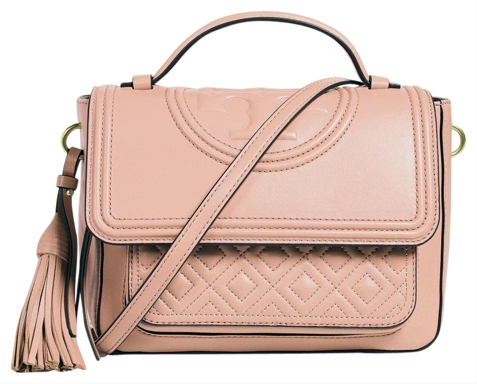 e02a23fec2a Tory Burch Fleming Satchel Coral Quilted Leather Cross Body Bag ...