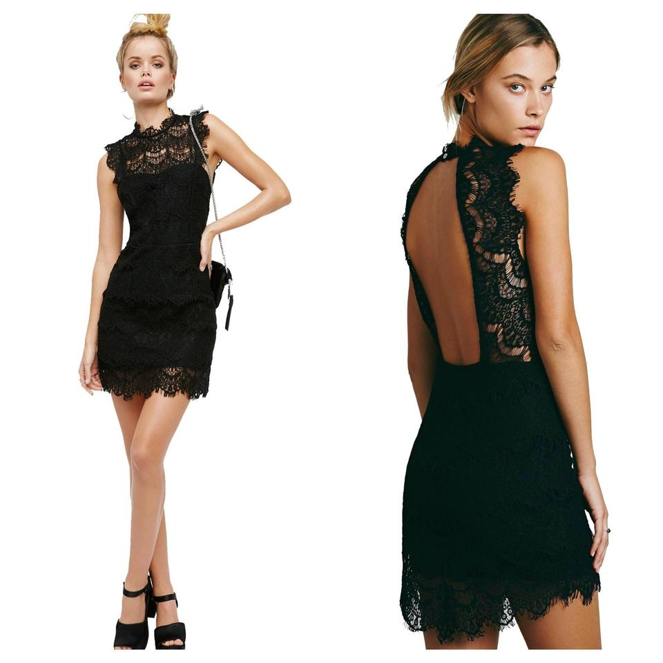 f31775943c Free People Black Lace Daydream Bodycon Slip Short Cocktail Dress ...