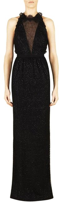 Item - Black Net and Tulle Embellished Gown Long Night Out Dress Size 4 (S)