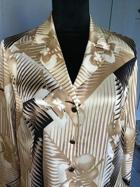 Escada Authentic/Silk Buttons Fanned Cuffs Comfortable/Chic Top Black/Beige/Ivory