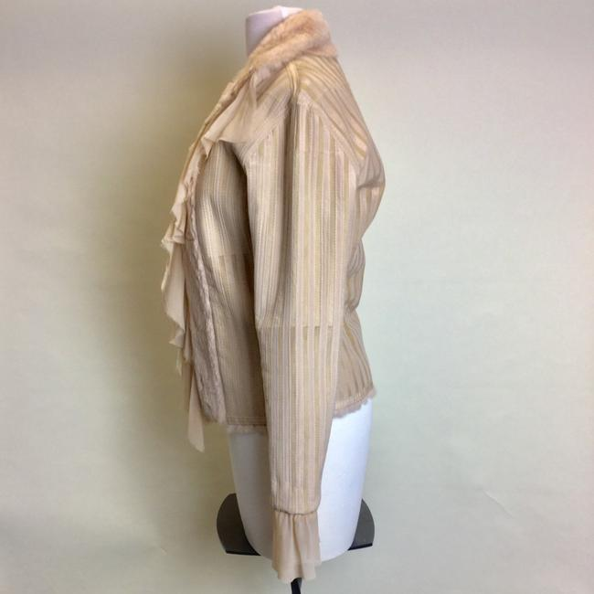 Sheri Bodell Rabbit Longsleeve Ruffle Tan Leather Jacket