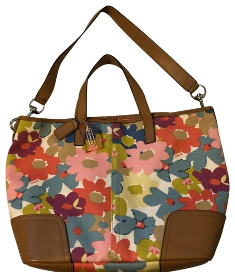 Preload https://img-static.tradesy.com/item/24486550/coach-1941-flower-print-removable-strap-multi-with-tan-trim-canvas-leather-tote-0-1-540-540.jpg