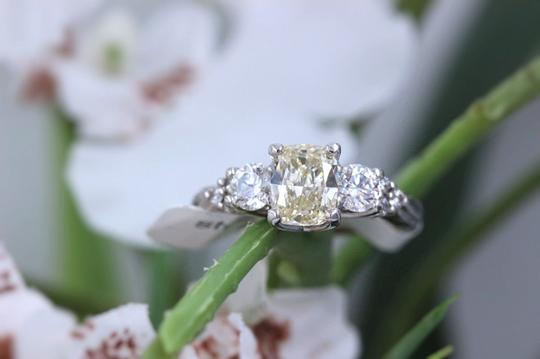 Engagement Ring Light Yellow Cushion Diamond Engagement Ring 1.51ct 14k White Gold