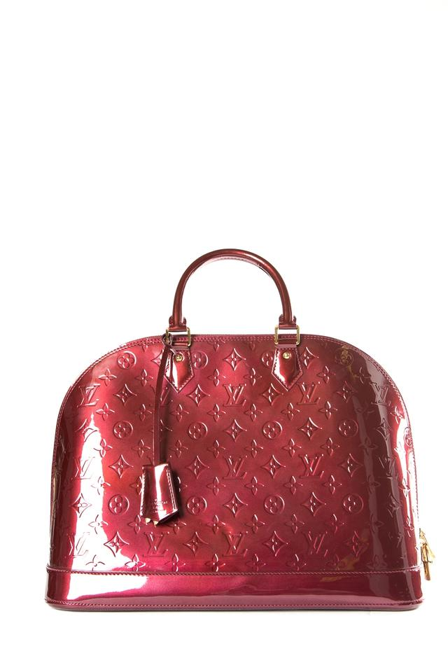 Louis Vuitton Alma Red Burgundy Vernis Alma Mm Bag Tote - Tradesy a299bbc7fc