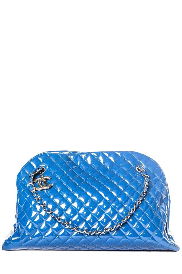 73015555f906fe Chanel Mademoiselle Patent Just Bowler Blue Leather Shoulder Bag ...
