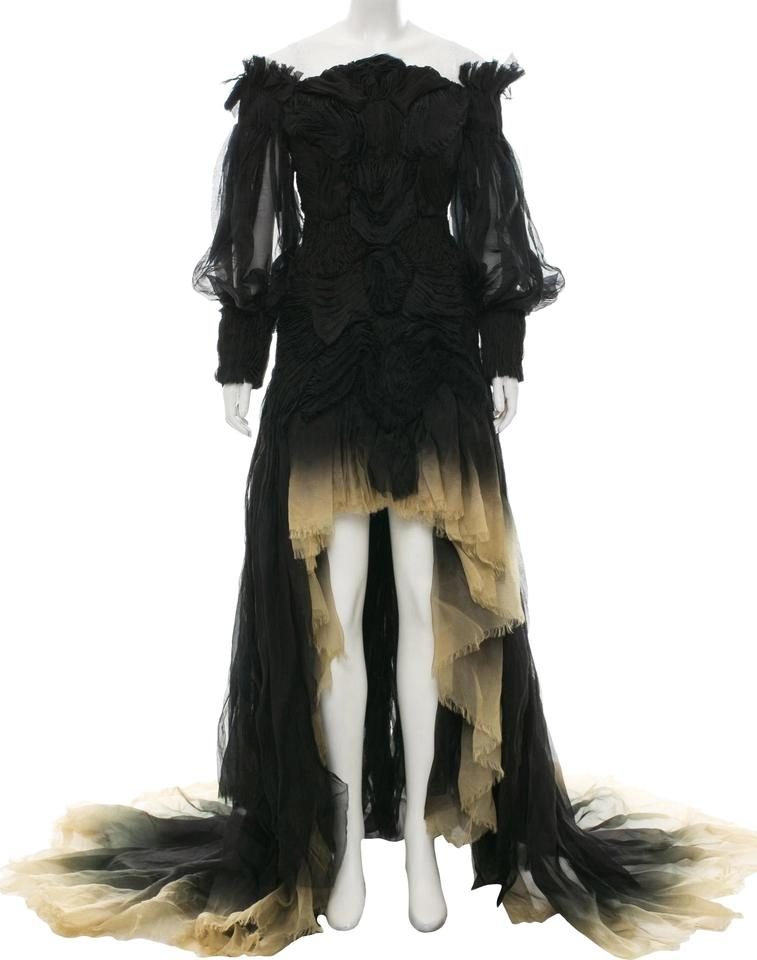 1b17d43d23 Alexander McQueen Black and Beige Runway Ombré Gown Long Cocktail ...