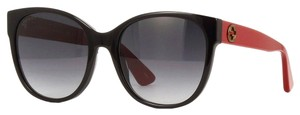 Gucci Gucci Women Cat Eye Sunglasses GG0097S 005 Black & Red Frames