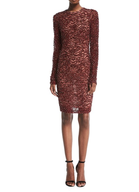 Item - Red High-neck Long-sleeve Beaded Short Cocktail Dress Size 6 (S)