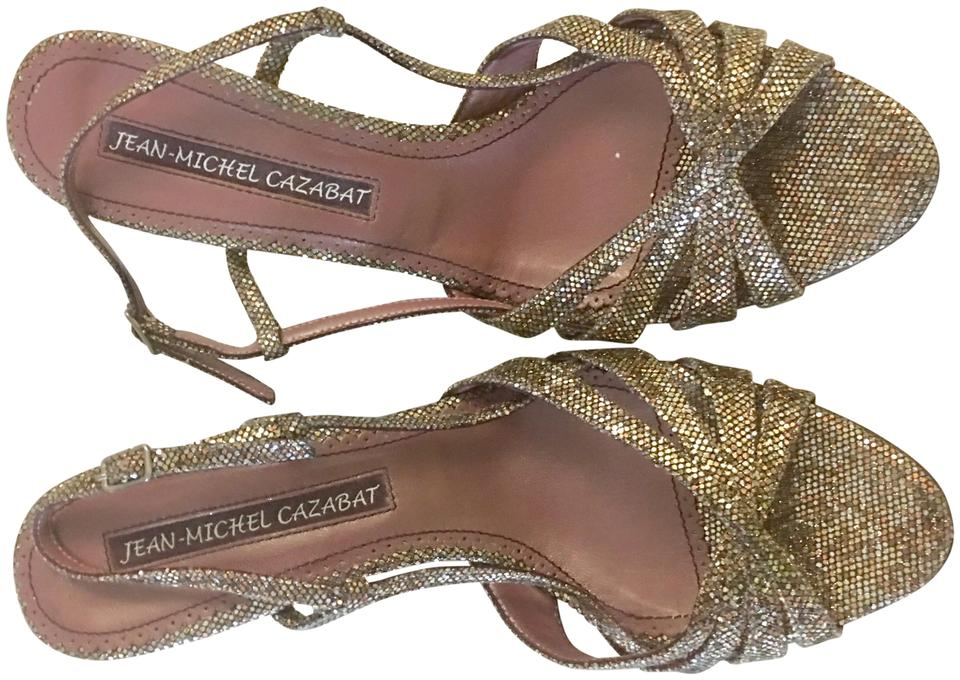 26cde03f21eee Jean-Michel Cazabat Metalic Gold Dressy Sandals Size EU 37.5 (Approx ...