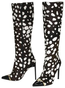 Versace black and white leopard print Boots